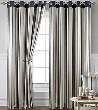Grey Stripe Eyelet Curtains 90 X