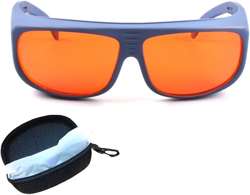 T1S5 Gafas de seguridad láser para gafas de 405nm color morado 450nm láser azul 532nm protección completa de láser verde 190~550nm lentes rojas montura blanca y negra CE OD4+ VLT>30%