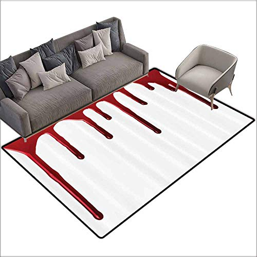 Soft Area Children Baby Playmats Bloody,Flowing Blood Horror Spooky Halloween Zombie Crime Scary Help me Themed Illustration,Red White 60