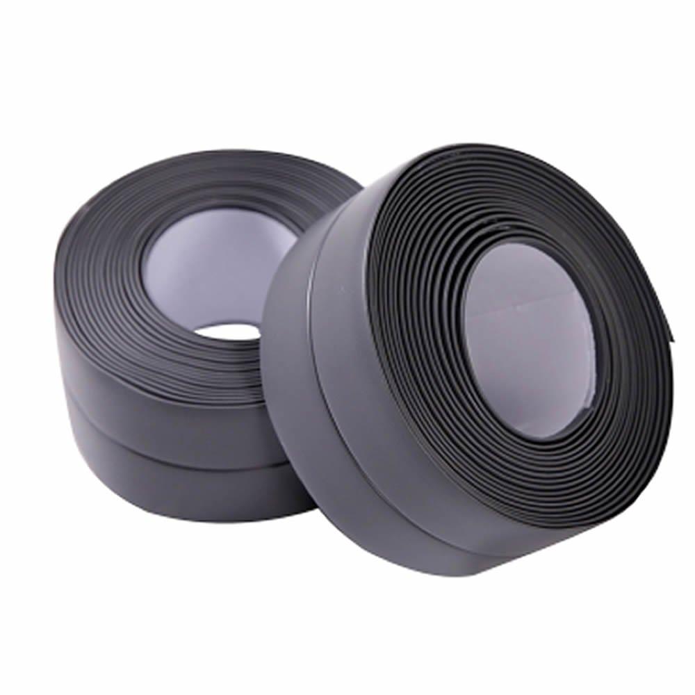 MAXGOODS 2 Pack PE Kitchen Caulk Strip,Self Adhesive Mildew Resistant Waterproof Sealing Tape for Bath Tub,Toilet Wall Sealant,Kitchen Sink,1-1/2'' Width (Dark Gray)
