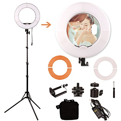 GINSON 12 Inch 180LED Mirror Ring Light with Stand,Makeup Artist Light, Photography Lights by GINSON