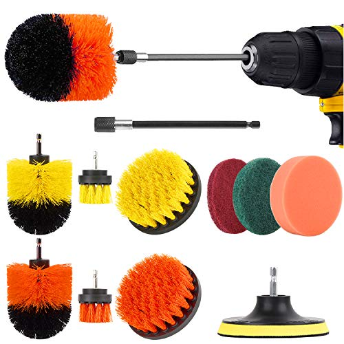 Drill Brush Attachment Set-12 Pieces Power Scrubber Brush for Kitchen and Bathroom Surfaces Tub, Grout, Tiles, Sinks, Wheels, Corners and Auto