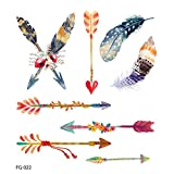 Feather Temporary Tattoos for Kids Realistic 3D Flowers Tattoos Stickers Removable Waterproof Body Art Arm Fake Tattoos Men Women Party Favors (A)