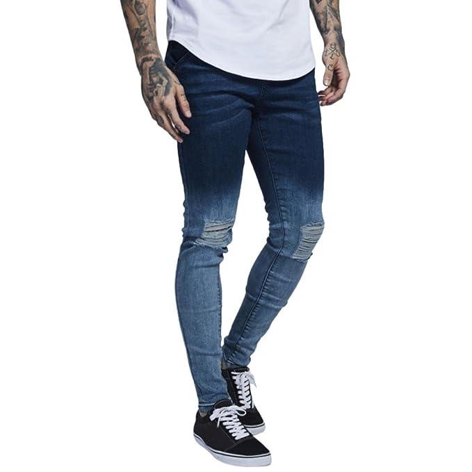 Pantalones Hombre,LMMVP De moda Jeans skinny de hombre Biker destruido Fray Slim Fit Pantalones