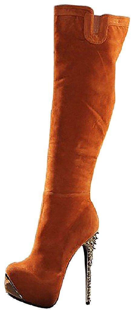 Calaier Mujer Cafast Tacón De Aguja 15CM Sintético Cremallera Botas Zapatos41.5|Marrón