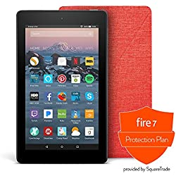All-New Fire 7 Protection Bundle with Fire 7 Tablet (8 GB, Black), Amazon Cover (Punch Red) and Protection Plan (1-Year)