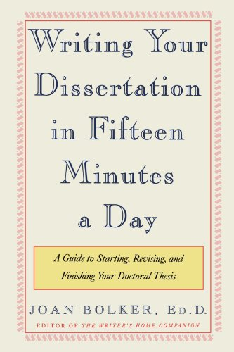 revising dissertation for book Abebookscom: writing your dissertation in fifteen minutes a day: a guide to starting, revising, and finishing your doctoral thesis (9780805048919) by joan bolker and.