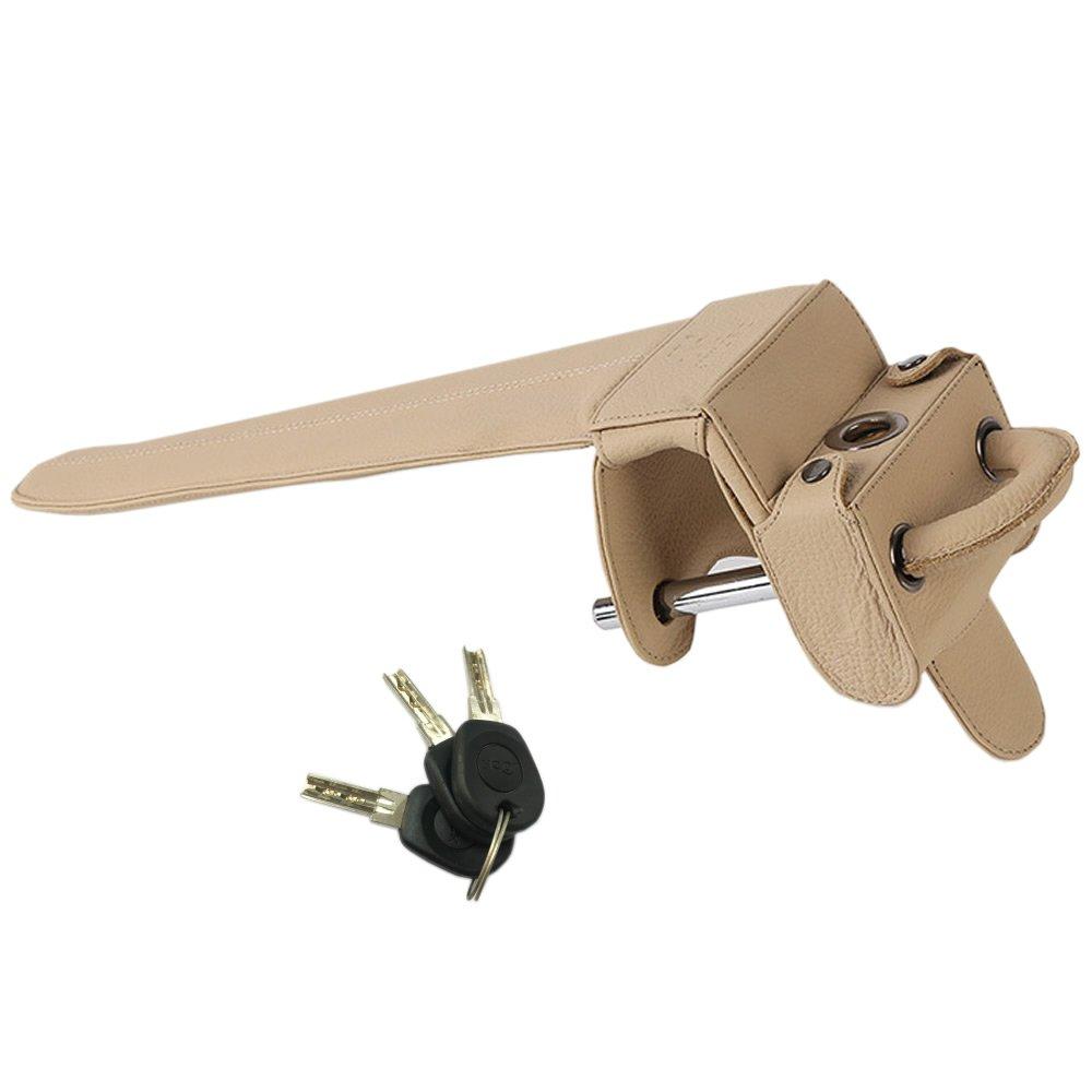 Universal Heavy Duty Car Van Steering Wheel Lock Anti Theft Security Device (Genuine Leather protection)