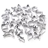 GWHOLE Set of 26 Christmas Cookie Cutters Set, Animal Classic Shape Cutters for Kids