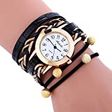 COOKI Womens Bracelet Watches Clearance Ladies Watches Leather Female Watches on Sale Cheap Watches-Q9 (Black)