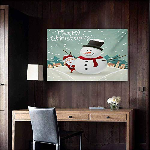 duommhome Christmas Wall Art Decor Poster Painting Merry Christmas Cartoon with Santa Snowman Pines Houses Winter Decorations Home Decor 47