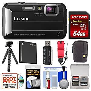 Panasonic Lumix DMC-TS30 Tough Shock & Waterproof Digital Camera with 64GB Card + Case + Battery + Flex Tripod + Float Strap + Kit
