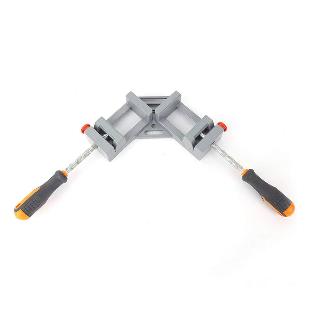 Businesscastle Double Handle Right Angle Clamp Woodworking Frame Clip Right Angle Folder Tool Silver