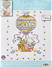 Tobin Balloon Ride Baby Quilt Stamped Cross Stitch Kit, 34 by 43-Inch