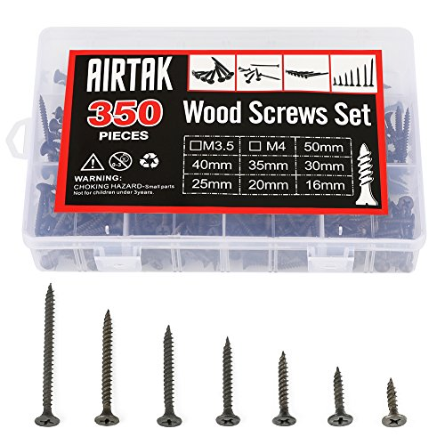 AIRTAK 350 Pcs Drywall Screws Phillips Flat Head Self Tapping Screw Assortment Kit(Black Carbon Steel)