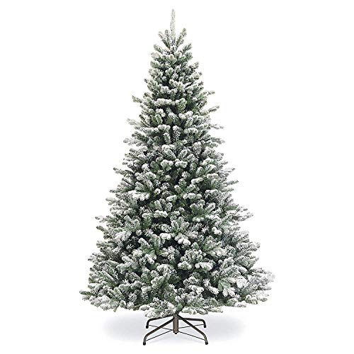 SPARKS Flocked Artificial Christmas Tree 7.5 ft Unlit. Beautiful Crafted Flocked Snow Tree With1500 Branch Tips. Perfect Holiday Flocked Snow Christmas Tree