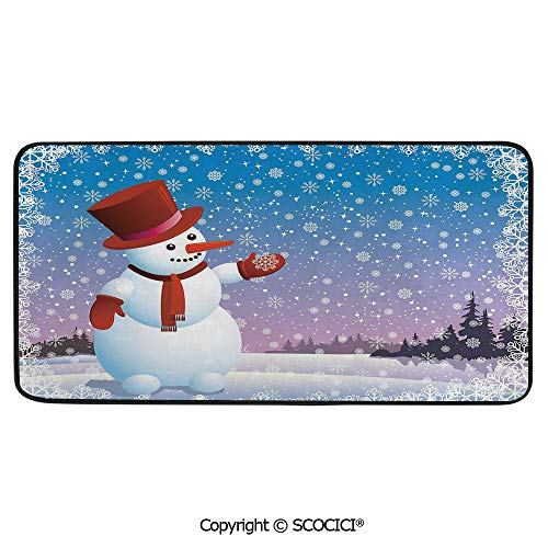 Soft Long Rug Rectangular Area mat for Bedroom Baby Room Decor Round Playhouse Carpet,Snowman,Cartoon Happy Snowman Looking at The Snowflake ICY Winter,39