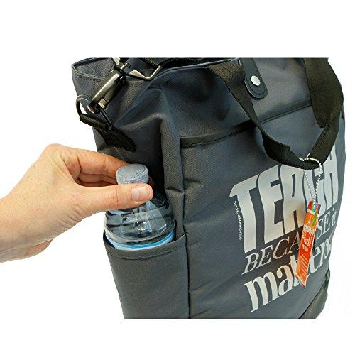 Teacher Peach Commuter Tote Bag - Convertible Cross Body Bag with Pockets, Organizers, Zippers, and Laptop Sleeve - Best as Teacher Appreciation or New School Teacher Gift - Graphite