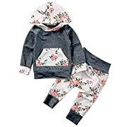 Baby Girls Long Sleeve Flowers Hoodie Top and Pants Outfit with Kangaroo Pocket (0-6 Months, Grey)