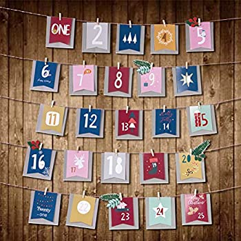 25PCs 1-25 Number Wood Christmas Calendar Tags Gift  Box Wrapping Tags Decor MR