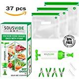 Sous Vide Bags 30 Reusable Vacuum Food Storage Bags Sous Vide Bag Kit 3 Sizes BPA Free