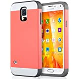 Galaxy S5 Case, S5 Case, ULAK 2in1 Hybrid Dual Layer Slim Protective Case Cover for Samsung Galaxy S5 / Galaxy SV / Galaxy S V / Galaxy i9600 2014 (Plastic Hard Shell and Flexible TPU) Coral Pink/Gray