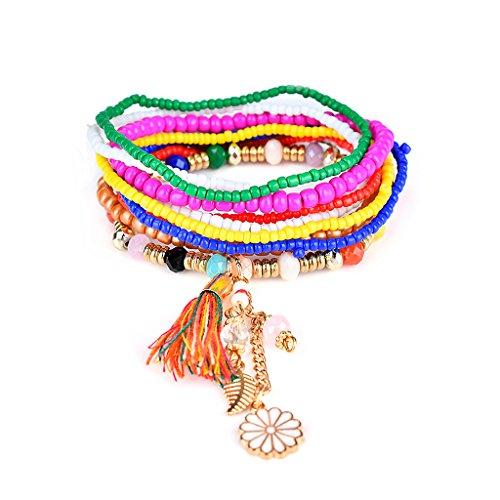 ForHe Charm Women Bohemian Multilayer Beaded Tassel Pendant Chain Bracelet Gift New (2#)