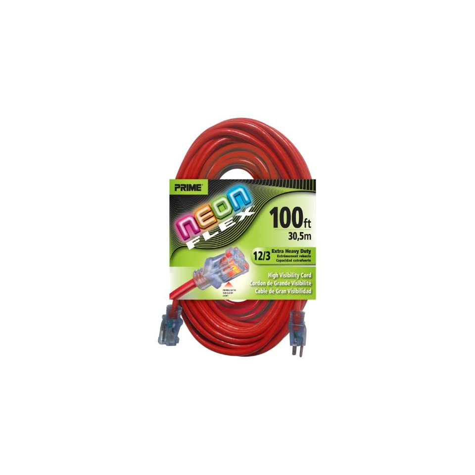 Prime Wire & Cable NS515835 100 Foot 12/3 SJTW Flex High Visibility Extra Heavy Duty Outdoor Extension Cord with Prime light Indicator Light, Neon Red