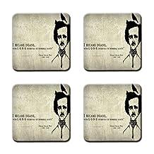 Edgar Allan Poe Personalized Design Square Coasters 4 Piece Set Cup Mat Stylish durable Cork Pad