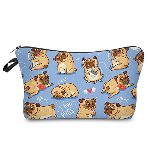 Bag Pug - Cosmetic Bag for Women,Loomiloo Adorable Roomy Makeup Bag Travel Waterproof Toiletry Bag Accessories Organizer (Flower Pug 51491)