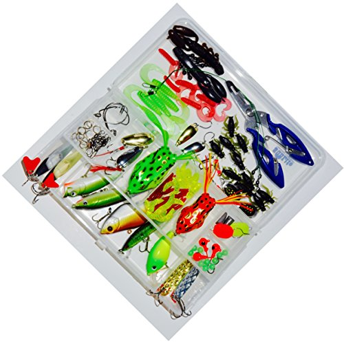 Tackle Box with 100+ pieces of tackle included | Crankbaits and Spinnerbaits | Topwater Frogs | Jigs for Ice Fishing | Great for Experts or Beginners!