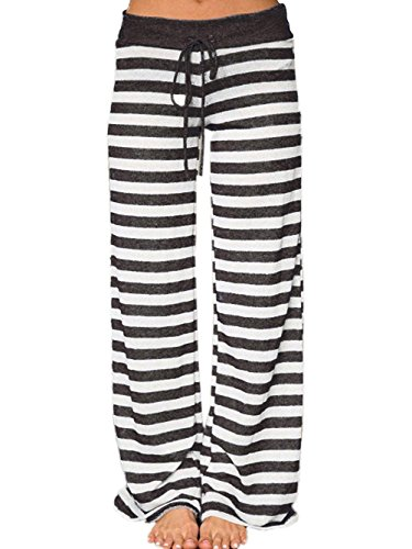 Striped Lounge Pants (Famulily Women's Comfy Light Weight Loose Striped Palazzo Pj Lounge Pants(L,Black))