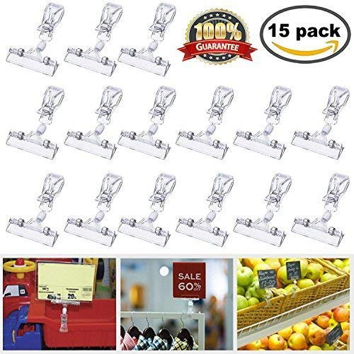Meiso Plastic Rotatable Sign Clips 15 Pack Merchandise Sign Pop Clip Display Clip-on Sign Holder Stand Price Clear by