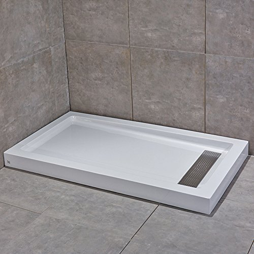 WoodbridgeBath Reversible Acrylic Shower Base with Recessed Trench Side Drain, including Stainless Steel Linear Drain Cover, White Color, 60