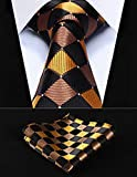 "Dan Smatree Brown Orange Check 3.4"" Silk Men Tie Necktie Handkerchief Set"