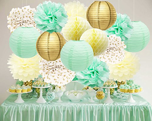 Bridal Shower Decorations Mint Cream Gold Birthday Decoration Tissue Paper Pom Pom Gold Mint Paper Lantern Cream Honeycomb Balls for Mint Gold First Birthday/ Baby Shower Decorations