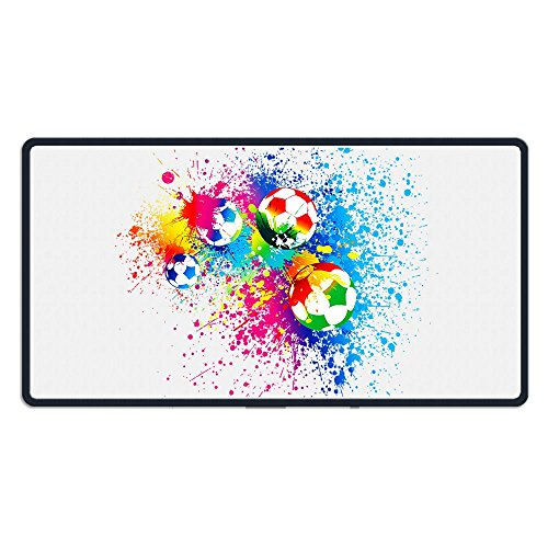 Extended Gaming Mouse Pad Colorful Soccer Ball Rectangle Rubber Mousepad 29.5315.75 inch Anti-Slip XXL Computer Mat