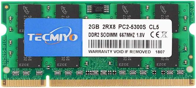 TECMIYO 2GB DDR2 667Mhz PC2-5300 PC2-5300S Non ECC Unbuffered 1.8V CL5 2RX8 Dual Rank 200 Pin Sodimm Laptop Notebook Computer Memory Ram Module