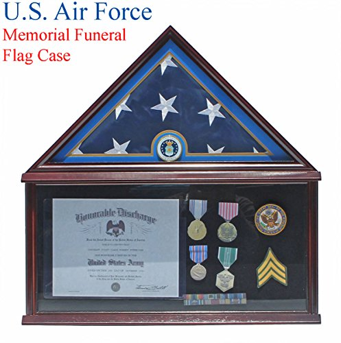 Elegant Memorial/Funeral Flag Display Case Storage Military Shadow Box, for 5'X9.5' flag folded, FC07-AIRI (with Air Force Medallion) (Memorial Flag)