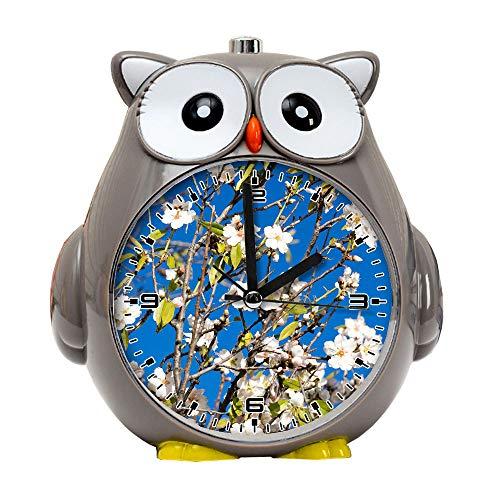 girlsight1 Owl Alarm Clock for Kids, Silent Non-Ticking Cartoon Quartz Loud Alarm Clock, Cute, Handheld Sized, Backlight, Personality Pattern flower015.Almond Tree, Spring, Almond Blossom, Pink -
