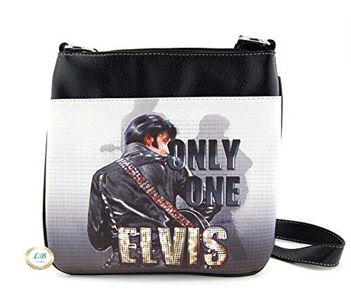 Elvis Presley Cross Body Bag, ONLY ONE, Plus Keychain (Black)