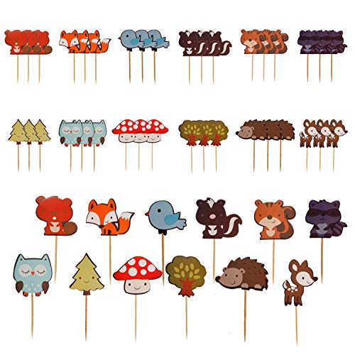 Lauren 48 pcs Forest Animals Decorative Muffin Cupcake Toppers Party Decorating Tools ()