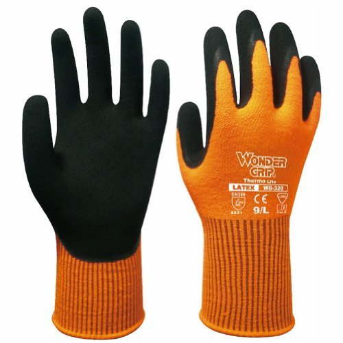 New Wonder Grip Safe Coldproof Work Protection Gardening Latex Fluorescent Orange Gloves for Winter (Size M)