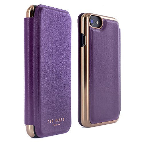 iPhone 7 Case, Official Ted Baker® SS16 Folio Style Case for Apple iPhone 8 / 7 - Fashion Branded Mirror Case for Professional Women - SHANNON - Deep Purple