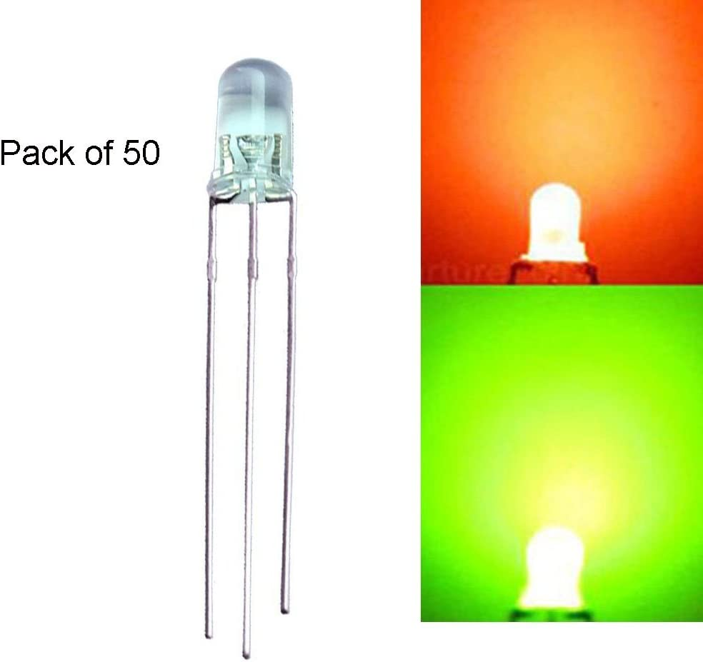100Pcs 5mm Diffused 3Pin Dual Bi-Color Red//Green Common Anode LED Bright Diodes