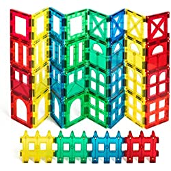 Award Winning Shape Mags 36 pieces Clear transperent colors JUST 3x3 SQUARES 9 Different Designs, Compatible With Magna Tiles and other brands
