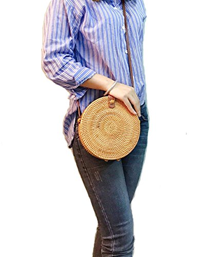 Handwoven Round Rattan Bag Shoulder Leather Straps Natural Chic Hand Gyryp (Button Women Shoulder Bags)