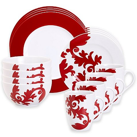 Christmas Tablescape Decor - Calarama Red and White Ceramic 16-Pc Dinnerware Set by Euro Ceramica