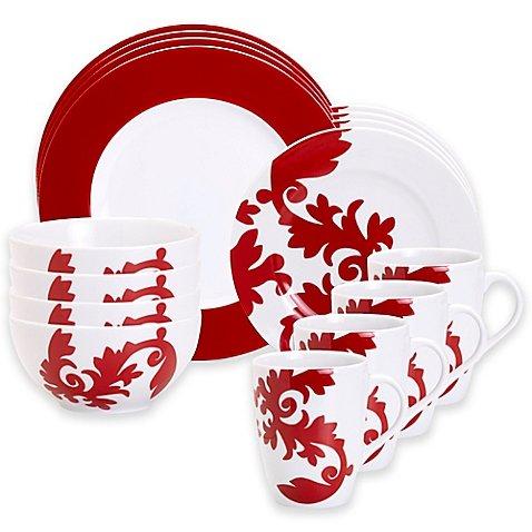 Christmas Tablescape Decor - Calarama Red and White Ceramic 16-Pc Dinnerware Set by Euro Ceramica