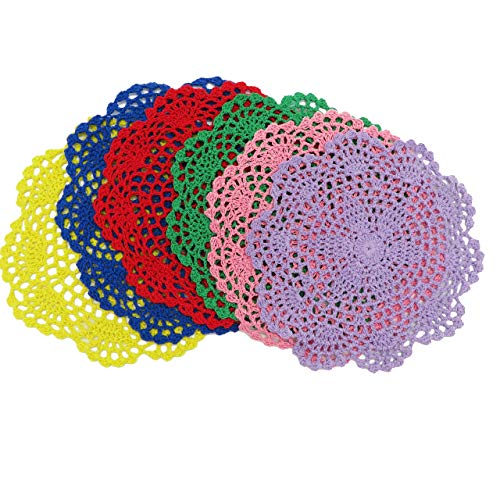 DODOGA 6pcs Doilies Cloth Lace Crochet Doilies Doilies for Tables Table Place Mats Placemats for Kitchen Coasters Doilies Round Handmade Crochet Cotton Lace Glass Bowl Dish Dining Table Mats 8 Inch ()